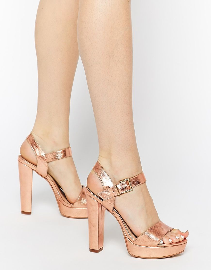 5451e0cf4375 Image 1 of Dune Mariella Rose Gold Platform Sandals
