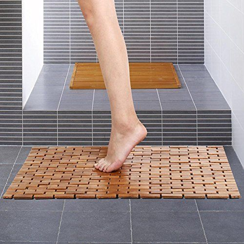 Charming Yaheetech Foldable Bamboo Bath Mat Shower Spa Mat 27inch X 20inch Wood  NonSkid Backing