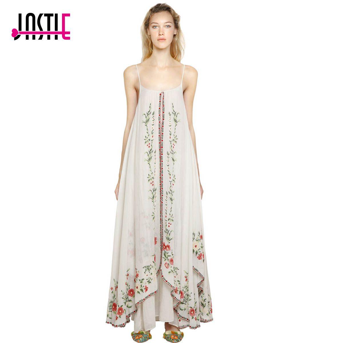 36bd9f988c62 Jaatie Adjustable Straps Summer Dresses Floral Embroidered Maxi Dress  Ruffle Hem Boho Dress Female Vestidos 2017 Women clothing Price: 50.90 &  FREE Shipping ...