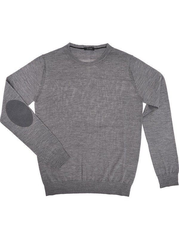 100% merino wool grey sweater for men Made in Italy