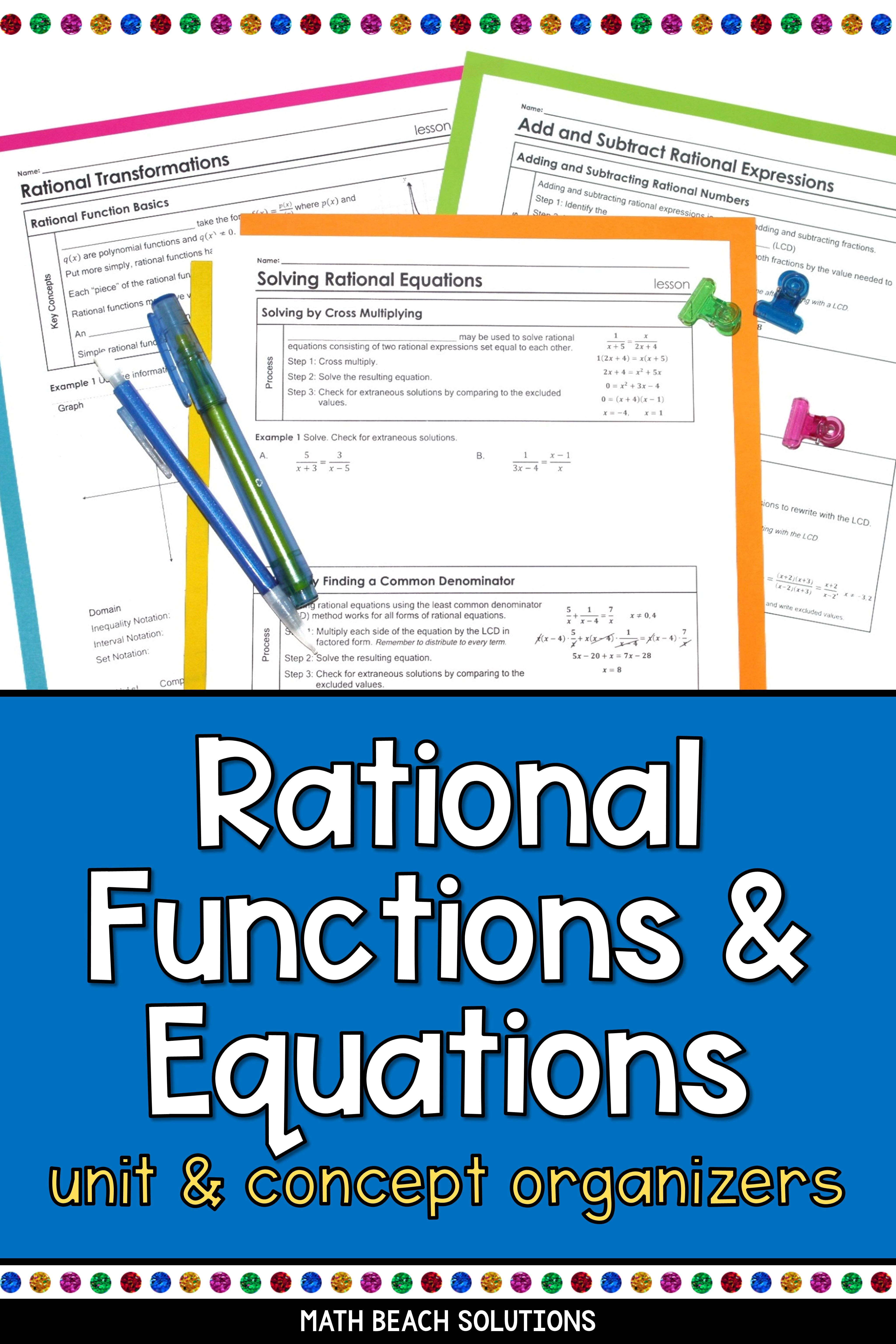 Rational Functions And Equations Algebra 2 Unit Rational Function Algebra Lesson Plans Algebra Lessons Adding subtracting rational expressions