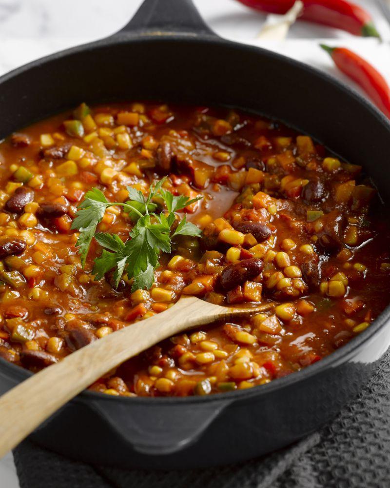 chili sin carne recept stoofpotjes pinterest vegetarische recepten eten en recepten. Black Bedroom Furniture Sets. Home Design Ideas