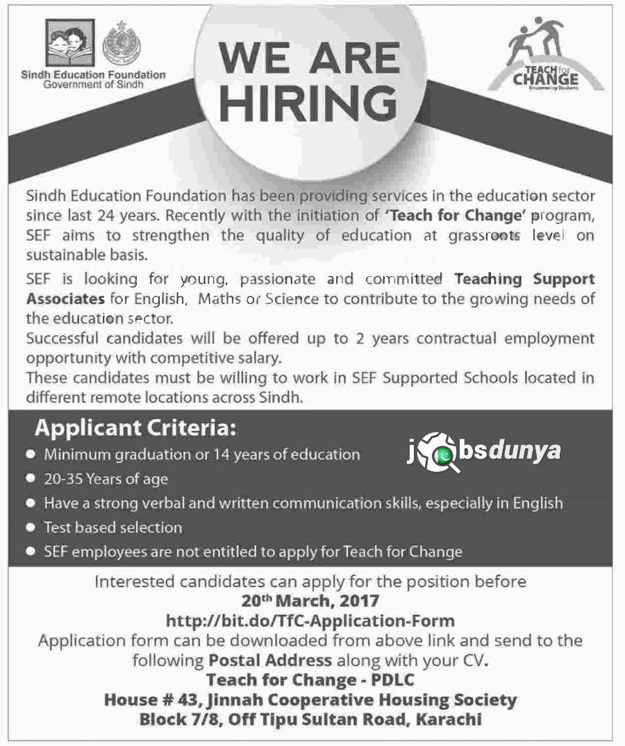 Jobs In Sindh Education Foundation Karachi Jobs In Sindh Education