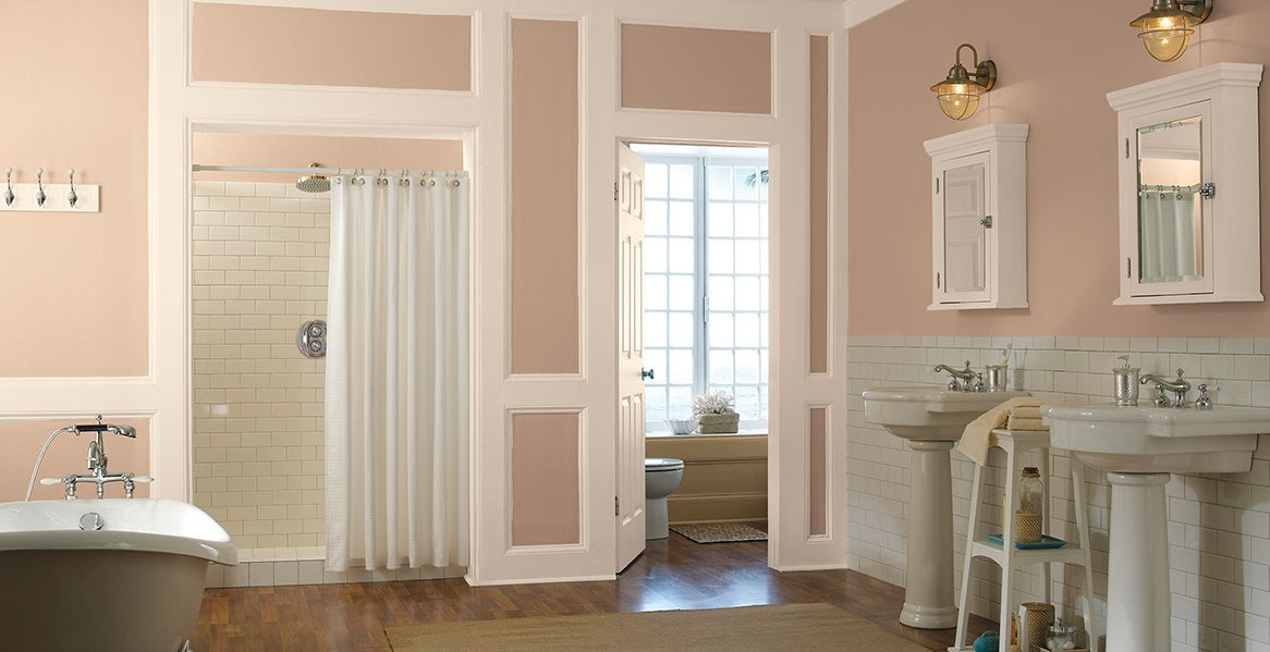 This Elegant Sunkissed Apricot BEHR Paint Color Will Bring A Feminine Yet  Chic Feel To Your Bathroom Or Bedroom. Combine With A Pink And White Color  Scheme ...