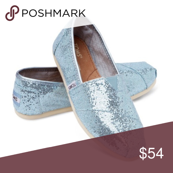78745182ef13 TOMS Blue Glitter Classics Blue Glitter Classic TOMS Toms Shoes Flats &  Loafers