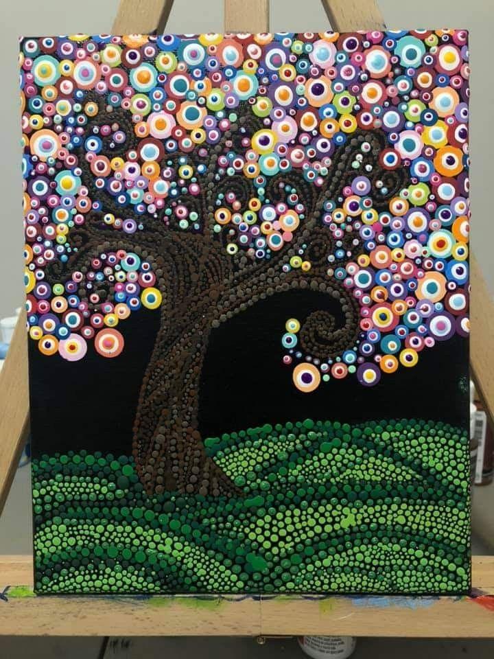 Pin By Graciela Semperena On Dotting Mandala Rock Art Dot Art Painting Mandala Painting
