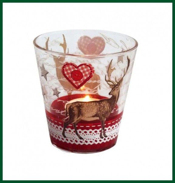 Weihnachtliches Glas Rentier Glaser Kerzenglas Windlicht Wohnen