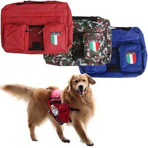 Large Dog Saddle BackPack Bag Travel Pet Rucksack Walking Hiking Harness Storage