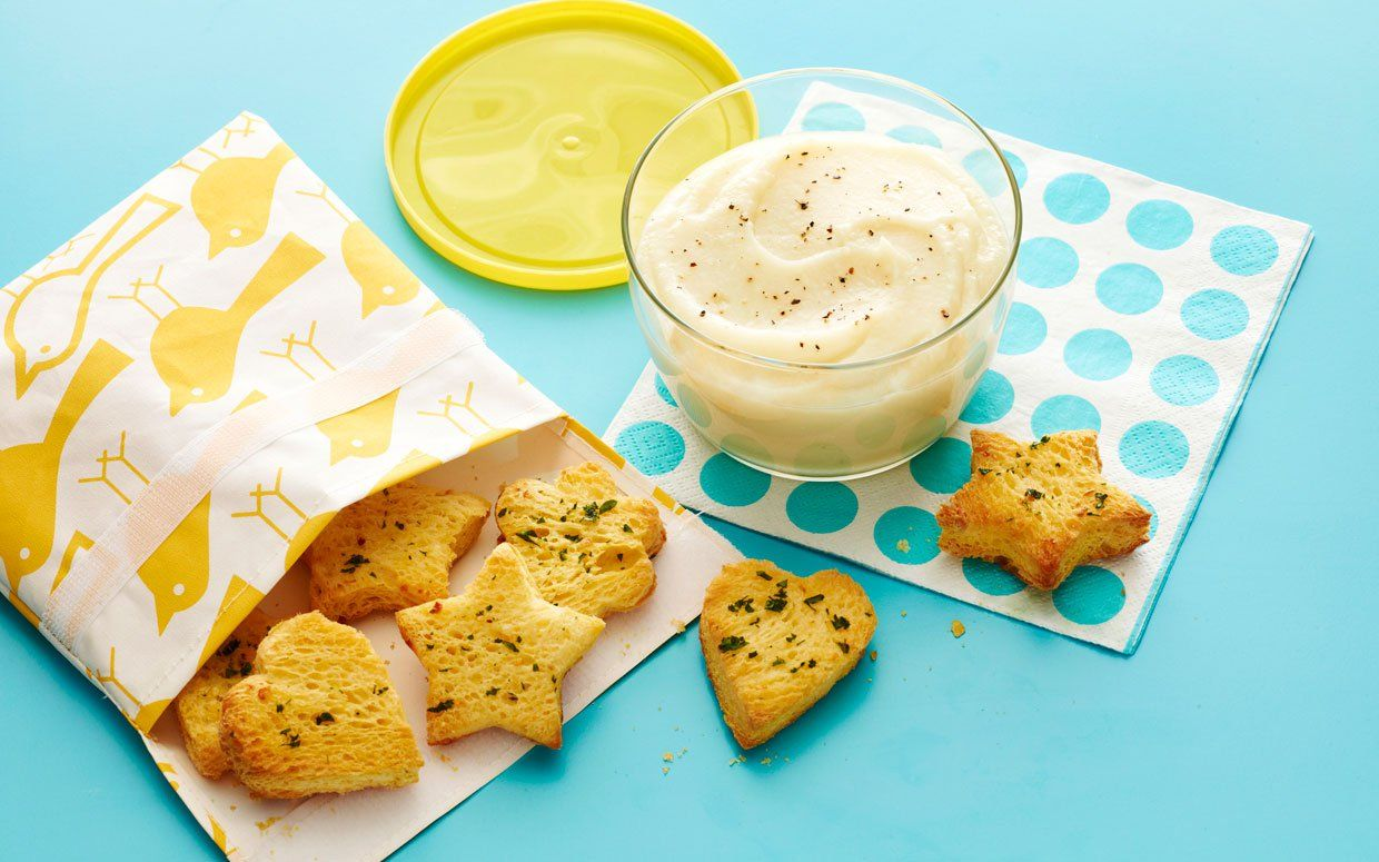 Cauliflower-Parmesan Soup with Garlic Bread Soldiers Very easy and delicious.  Do yourself a favor and double the recipe.