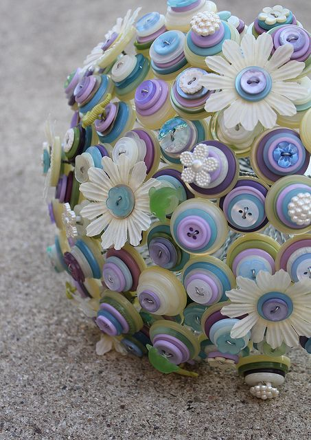 Blue and Purple Button Daisy Bouquet by rbkcreations, via Flickr