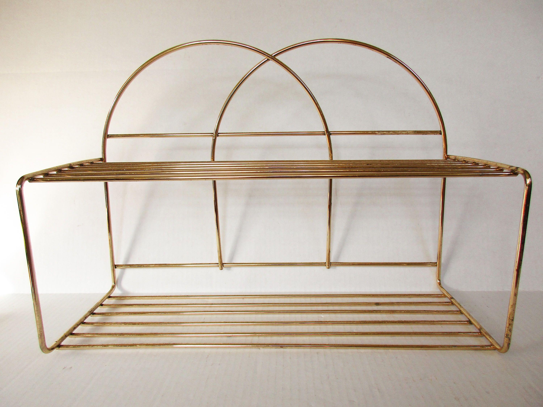 Gold Metal Wire Hanging Shelf, Mid Century Small Gold Metal Shelf ...