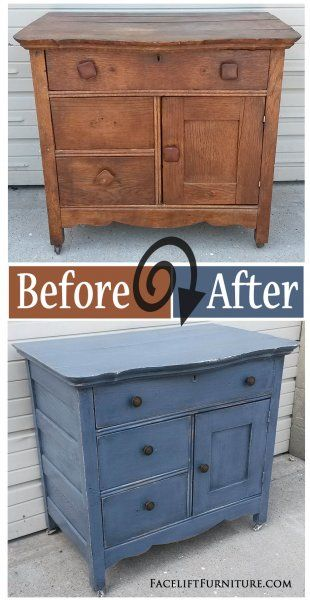 Before & After - Antique Cabinet in distressed Slate Blue with Black Glaze. From Facelift Furniture. on Facelift Furniture  http://www.faceliftfurniture.com/living-and-dining-room-furniture-before-aft (Diy Furniture Before And After)