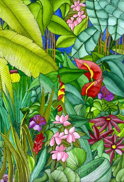 Anthurium In The Garden Anthurium Palms And Flowers Flower Art Tropical Art Watercolor Print
