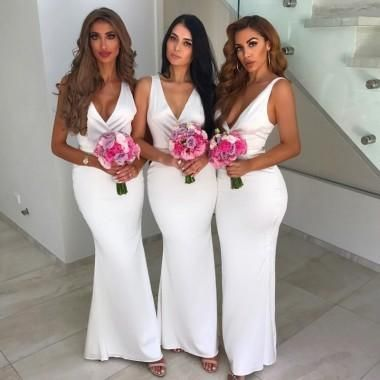 1f2b62f0a35 Simple V Neck White Mermaid Cheap Long Bridesmaid Dresses Online ...