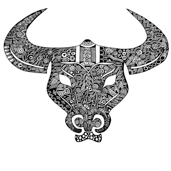 Zentangle Bull Coloring Page