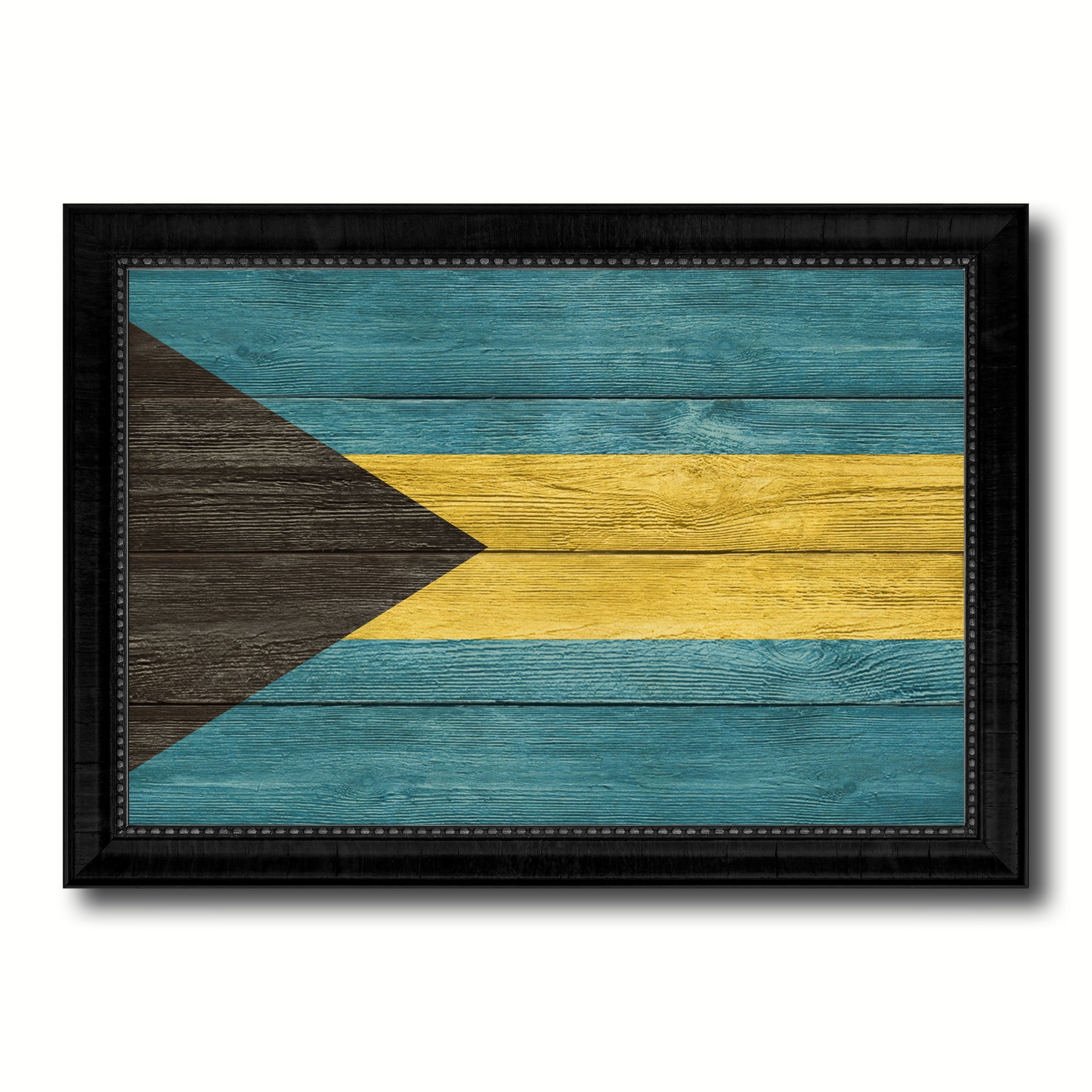 Bahama Country Flag Texture Canvas Print with Black Picture Frame ...