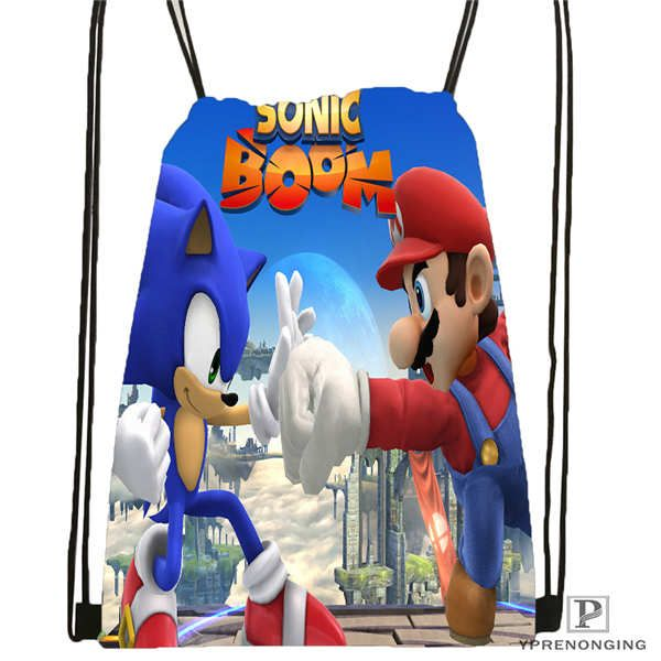 Amazing Custom Sonic-The-Hedgehog-  Drawstring Backpack Bag Cute Daypack Kids Satchel (Black Back) 31x40cm#2018611-2(14)  Sonic Sega Shop  #sonic #plush #toys #store #sale #sonicthehedgehog #stuffdolls