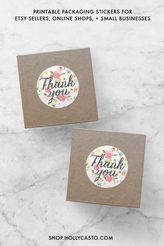 Instant thank you stickers pdf printable by hollycastodesign