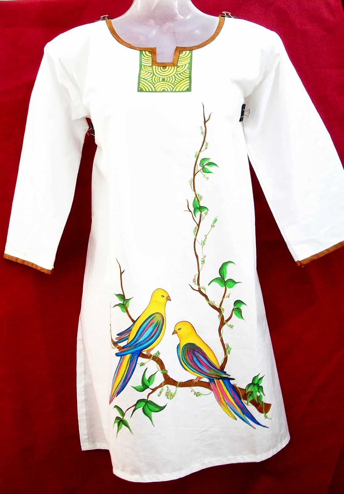 VEDA COLLECTIONS: LADIES KURTHIS | kerala mural painting | Pinterest ... for fabric painting designs on white kurtis  110yll