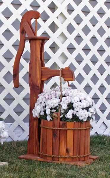 Amish Cedar Decorative Pump Planter with Bucket - Large