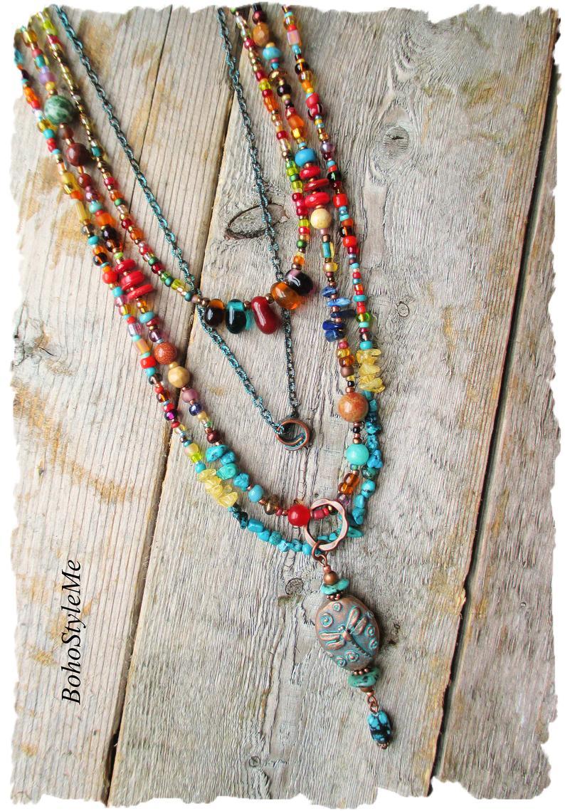 Gemstone Necklace Colorful Necklace Bead Necklace for Women Long Bead Necklace Boho Necklace Hippie Necklace Labradorite Necklace