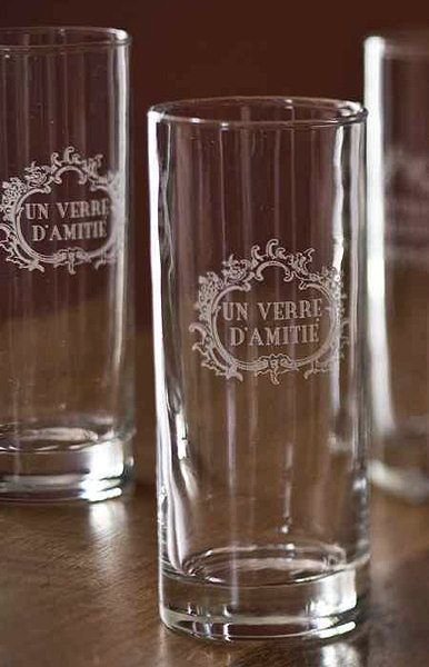 French Friendship Drinking Glasses Etched With The Phrase Un Verre D Amitie Translation A Glass Of Friendship Great Glass Drinking Glasses Pilsner Glass