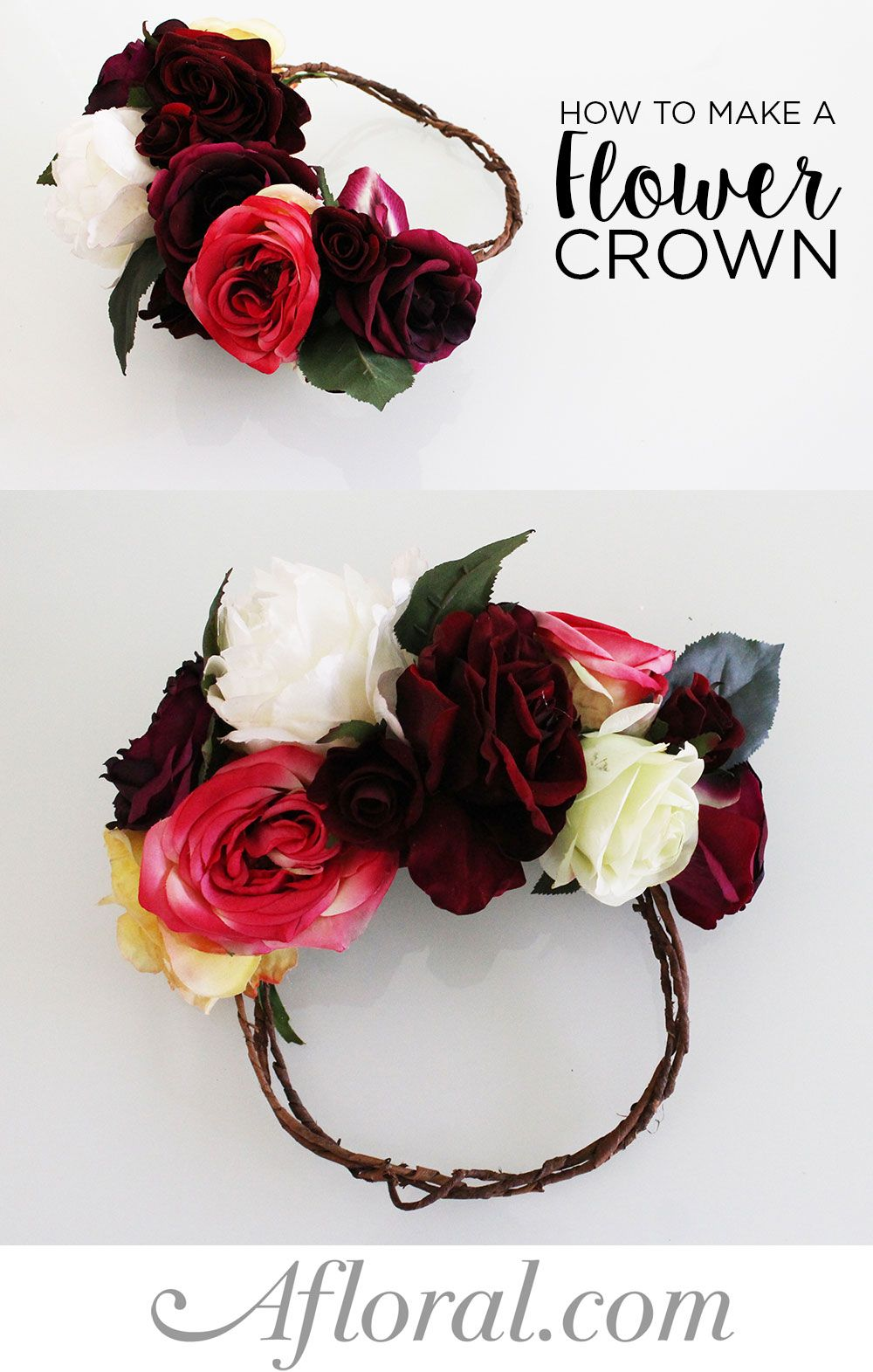 How to make a flower crown diy flower silk flowers and flower crowns gorgeous diy flower crown make a show stopping design for your wedding with silk flowers from afloral this simple do it yourself is fun and a great izmirmasajfo