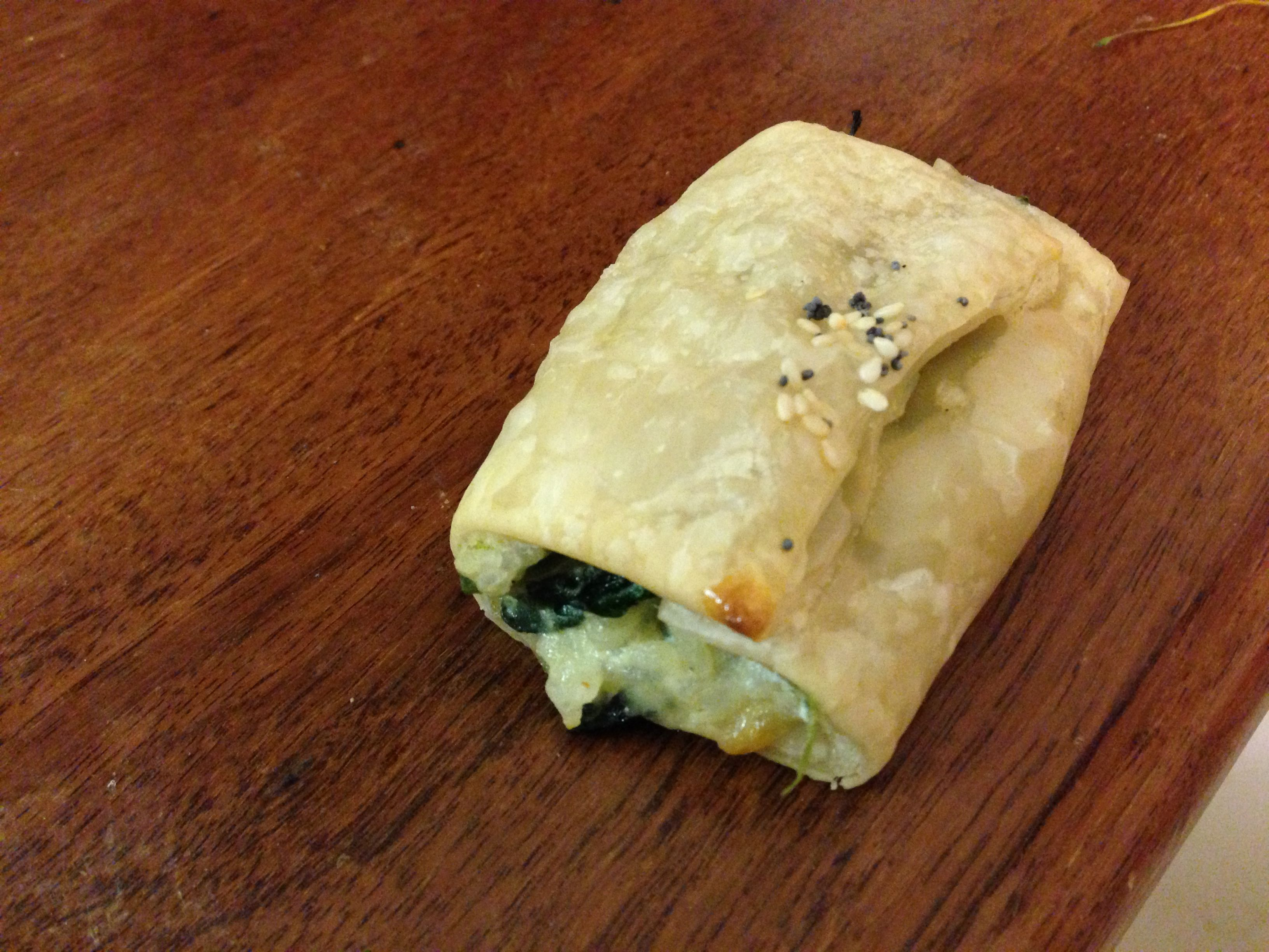 Spinach rolls 8 sheets puff pastry 500g fresh spinach leaves 1 tsp minced garlic 500g ricotta Grated rind 1 lemon 1 tsp nutmeg 100g g grated cheese 1 cup arborio rice seasame seeds  Preheat the oven to 180 deg Boil rice Rough cut spinach and boil. Drain. Fry the garlic & lemon rind. Add cooked spinach to infuse.  Mix ricotta, cheese, nutmeg ,spinach and rice.  Cut pastry sheets in half & fill with mixture.  Brush with milk and top with seasame seeds  Bake until pastry is golden about 15 min…