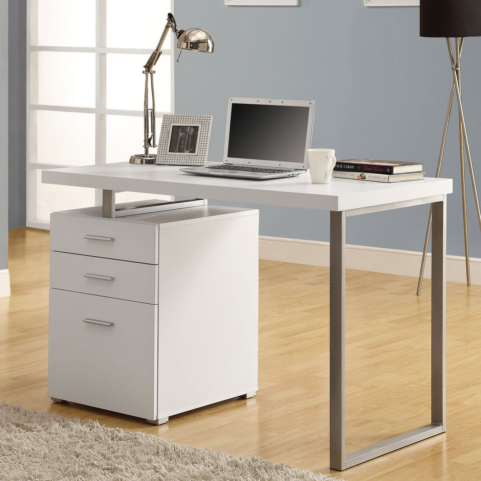 Monarch Hollow Core Left Or Right Facing 48 In. Desk   White   The