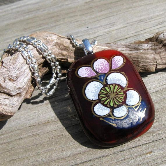 Fused Glass Apple Blossom Silver Necklace by EmotionalOasis
