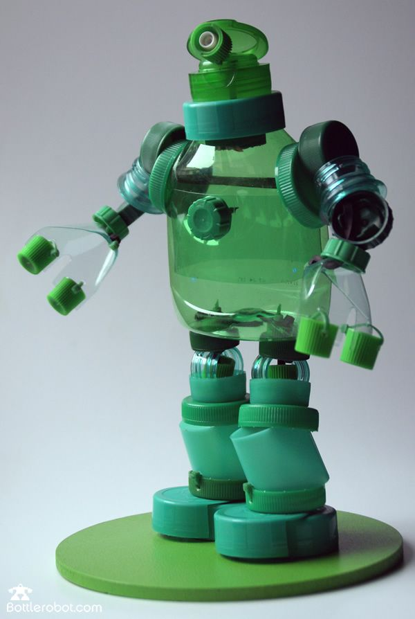 Diy ideas with bottle tops plastic bottles robot and cap for Recycled products from plastic bottles