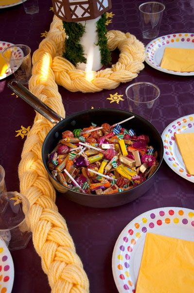 The best Tangled ideas still from @bettijo // Serve up candy or goodies in a frying pan.... jae would love this!