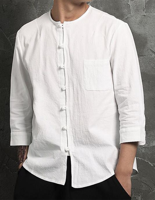 Men\'s Casual / Chinoiserie Cotton / Linen Shirt - Solid Colored ...
