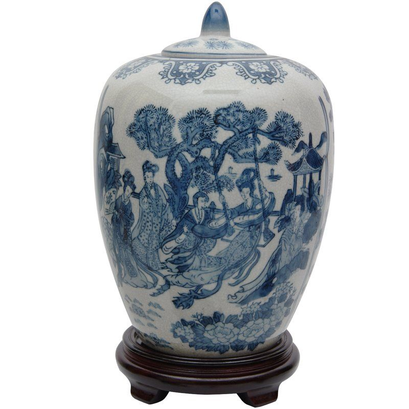 Christien Bluewhite Porcelain Decorative Urn White Porcelain Urn