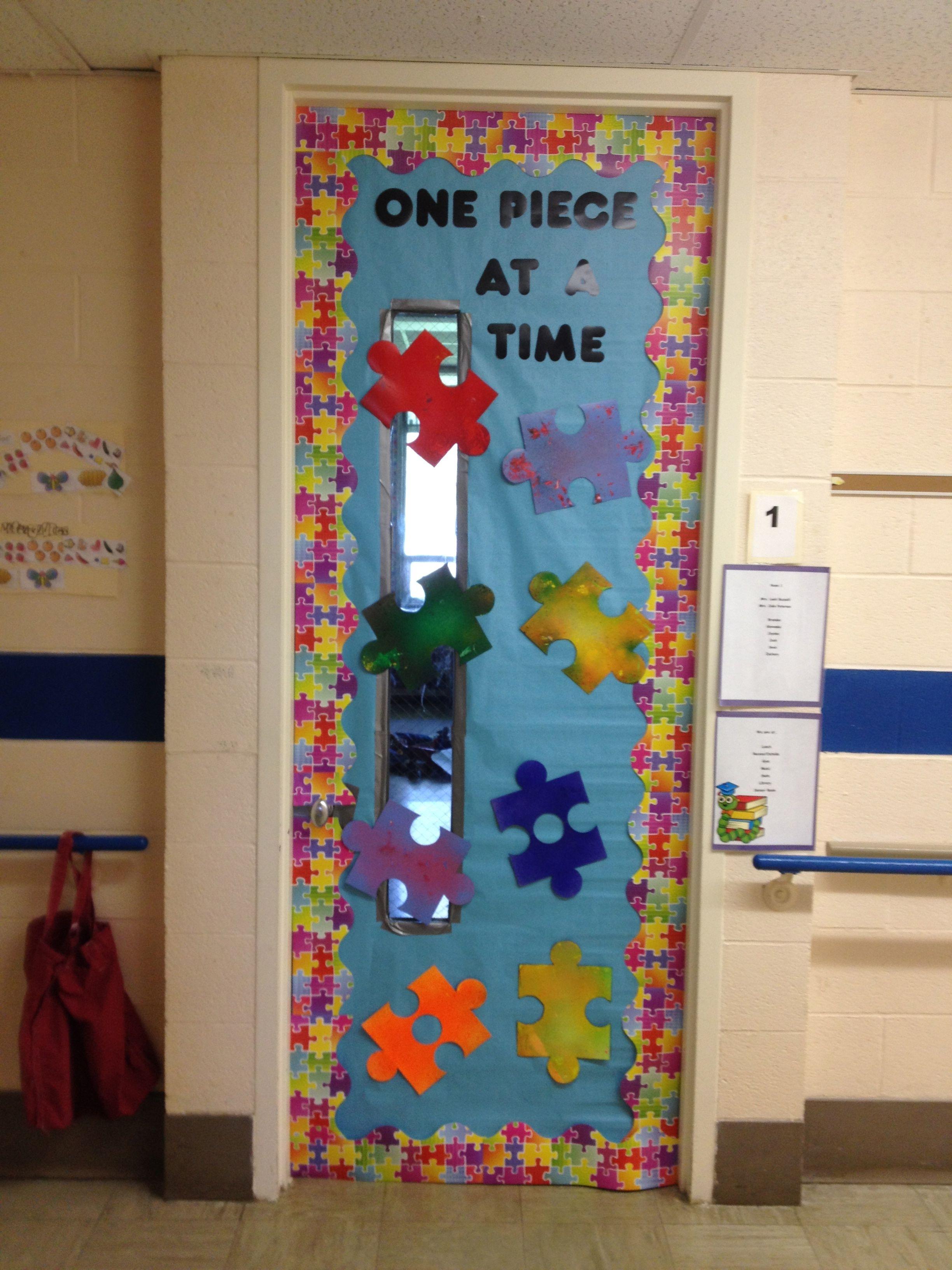 My classroom door for autism awareness month I put my students
