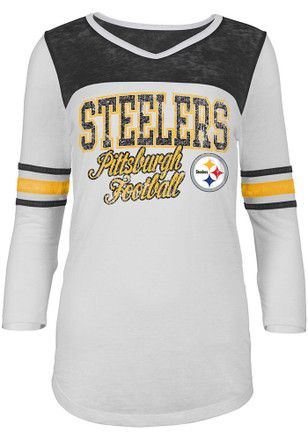 promo code 20c1f 744ca Pittsburgh Steelers Womens White Washes T-Shirt | NFL ...