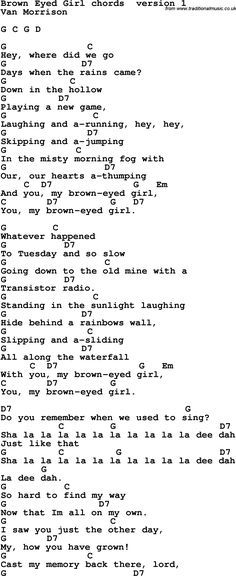 Brown eyed girl | Learn Guitar | Pinterest | Brown eyed girls, Brown ...