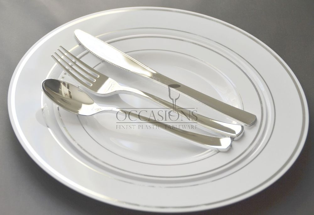 Bulk Dinner / Wedding Disposable Plastic Plates \u0026 silverware silver/ gold rim #OCCASIONSMasterpieceWNA #WeddingAnniversaryChristmasBirthdayParty & OCCASIONS \
