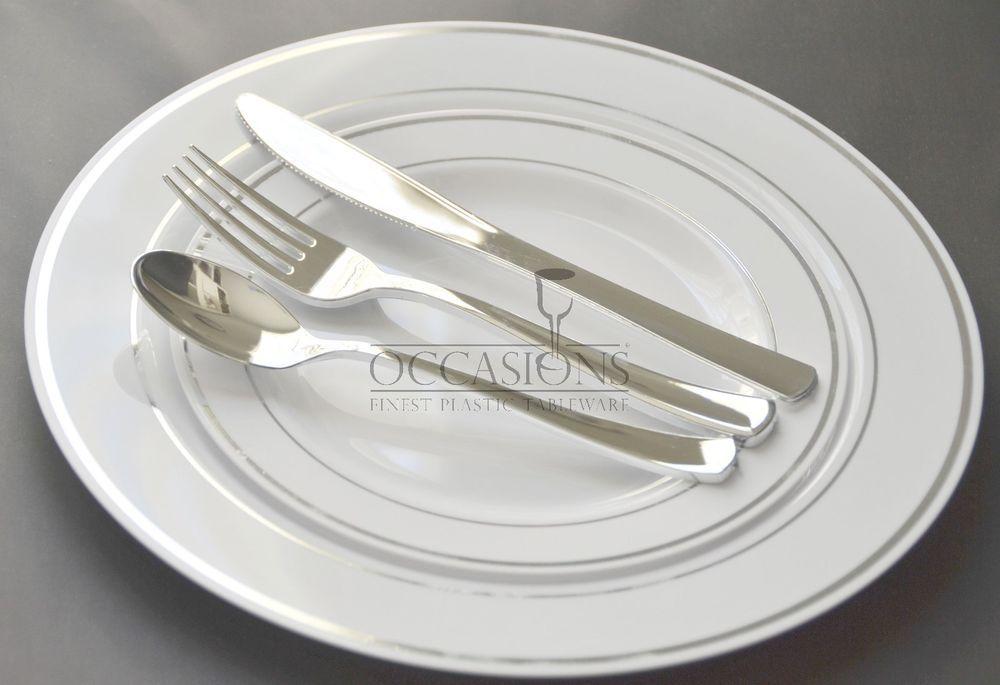 Bulk Dinner Wedding Disposable Plastic Plates Silverware