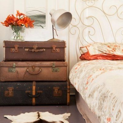 Antique Suitcases, the perfect vintage nightstand.