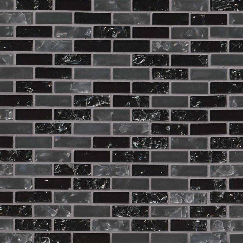 Smot Glsb Cr Gli6mm Glissen 58x2x6mm Mini Brick Linear Glass Mosaic Black Mosaic Glass Mosaic Backsplash Glass Mosaic Tiles