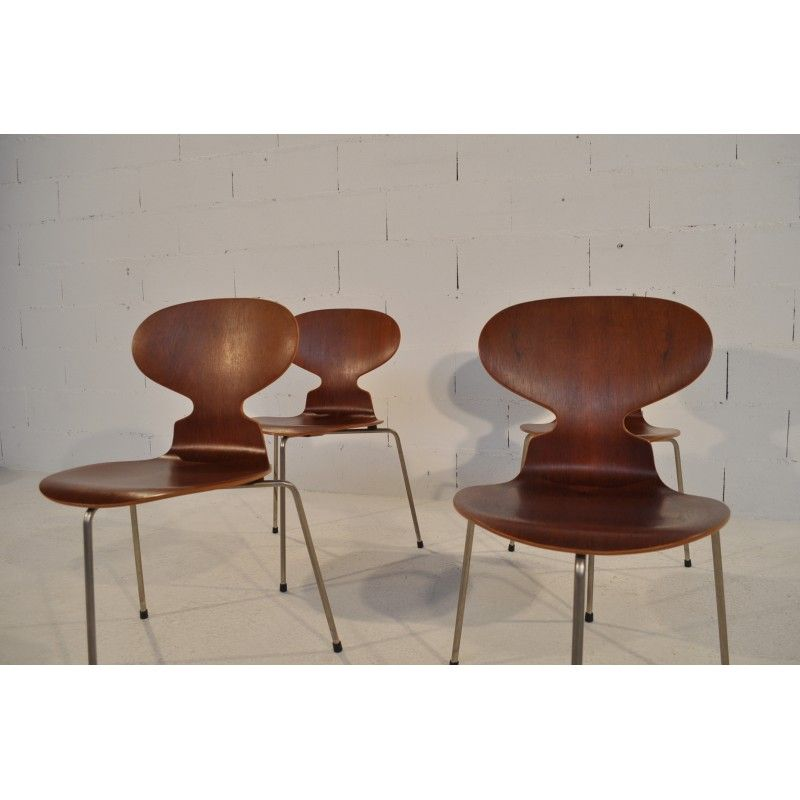 Suite De 4 Chaises Fourmi Arne Jacobsen Annees 50 Chaise Fourmi Chaise 4 Chaises