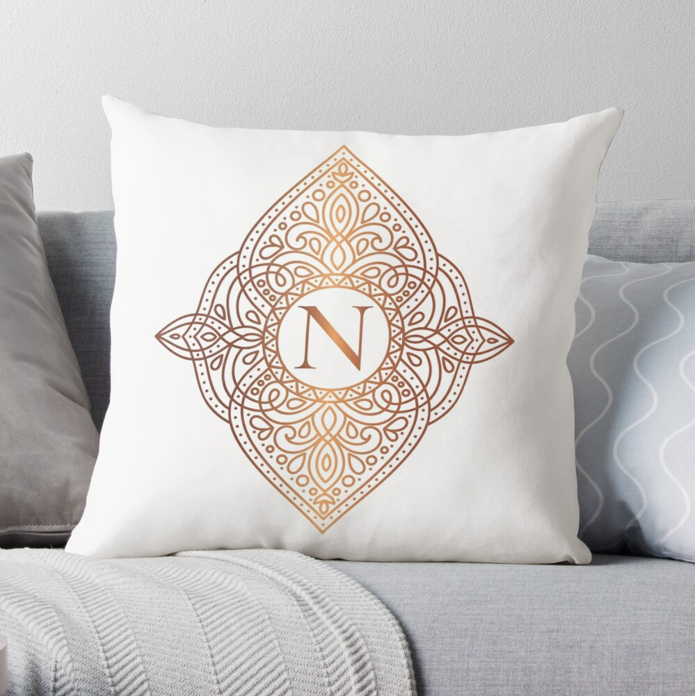 Rose Gold And White Luxury Personalized Monogram With Initial Letter N Personalized Design Decorative Frame Collection 1 Throw Pillow By Annartlab Frame Decor Throw Pillows Personalized Monogram