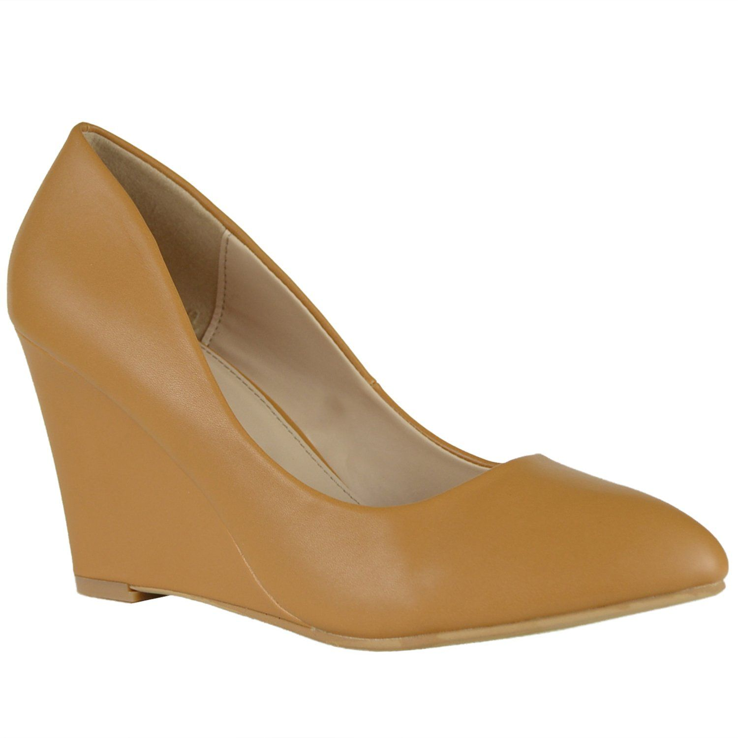 Womens Dress Shoes Almond Toe High Heel Casual Wedges Tan
