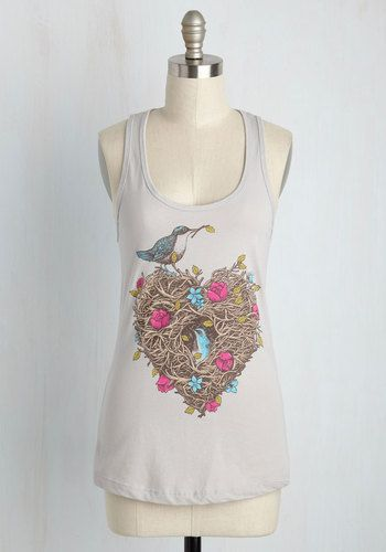 It's said that home is where the heart is, and for you, that's in this grey tank top! You always feel right in your element while flaunting the charming screen print of heart-shaped branches and blue birds that details this racerback piece, which asserts your personal domicile is always in style.