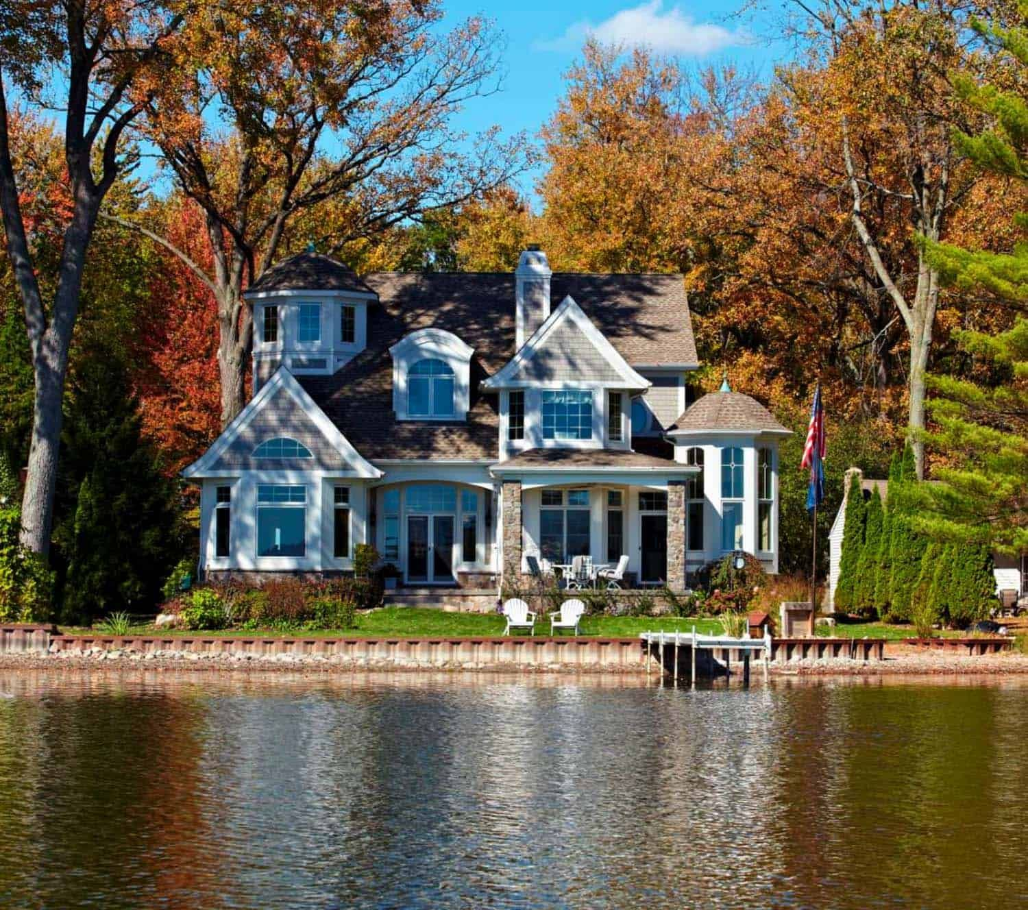 A Cape Cod Inspired Lake House Designed For Casual Living In Michigan Beautiful Houses Exterior Lake House My Dream Home