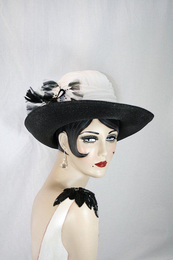 c1dfeacf6ec6e ON SALE This Week Only Black White Hat Derby Hat Designer Hat Elegant Hat  White Pleated Hat Black Fe