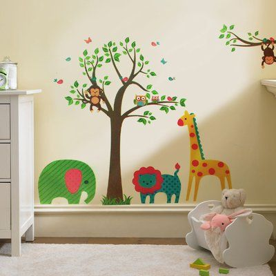 Ebern Designs Animals Tree Wall Decal Animal Decals