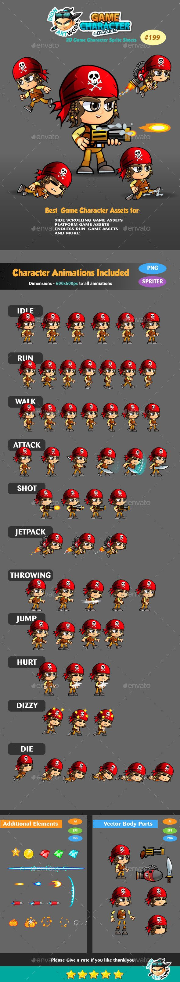 Pirate Boy 2D Game Character Sprites 199 — Vector EPS #main character #sprite sheet • Available here → https://graphicriver.net/item/pirate-boy-2d-game-character-sprites-199/15031605?ref=pxcr
