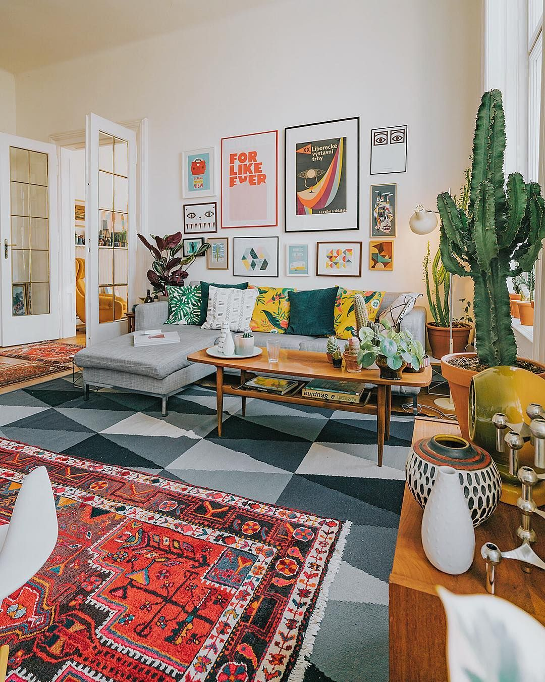 Colorful Living Room With Gallery Wall Colorful Living Room